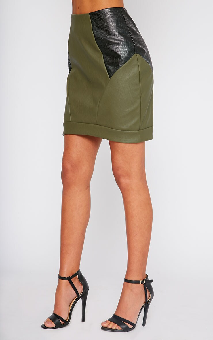 Phay Khaki Leather Panel Mini Skirt 4