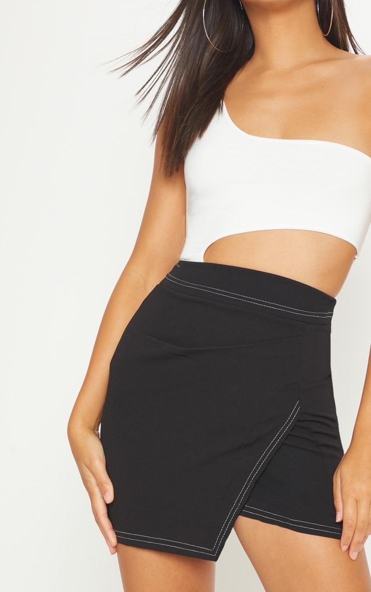 Black Contrast Stitch Wrap Front Mini Skirt 6