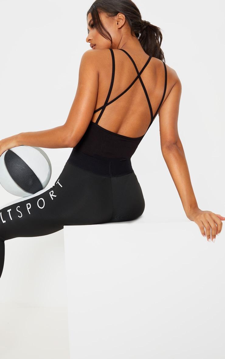 Black/White Cross Back Gym Bodysuit 1