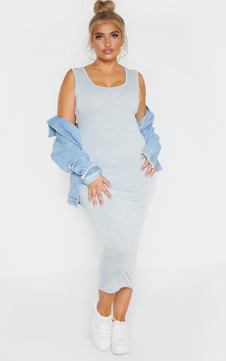 Plus Grey Marl Jersey Scoop Neck Midaxi Dress 1