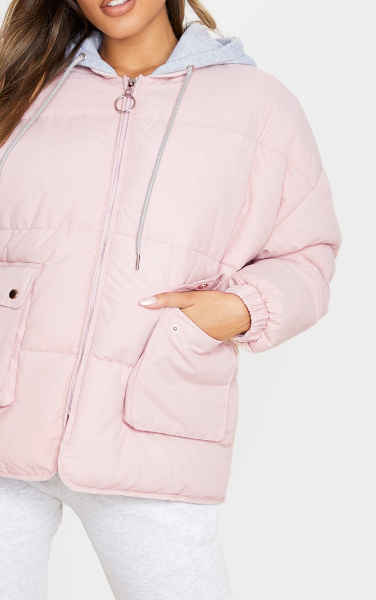 Pale Pink Peach Skin Oversized Hooded Puffer 5
