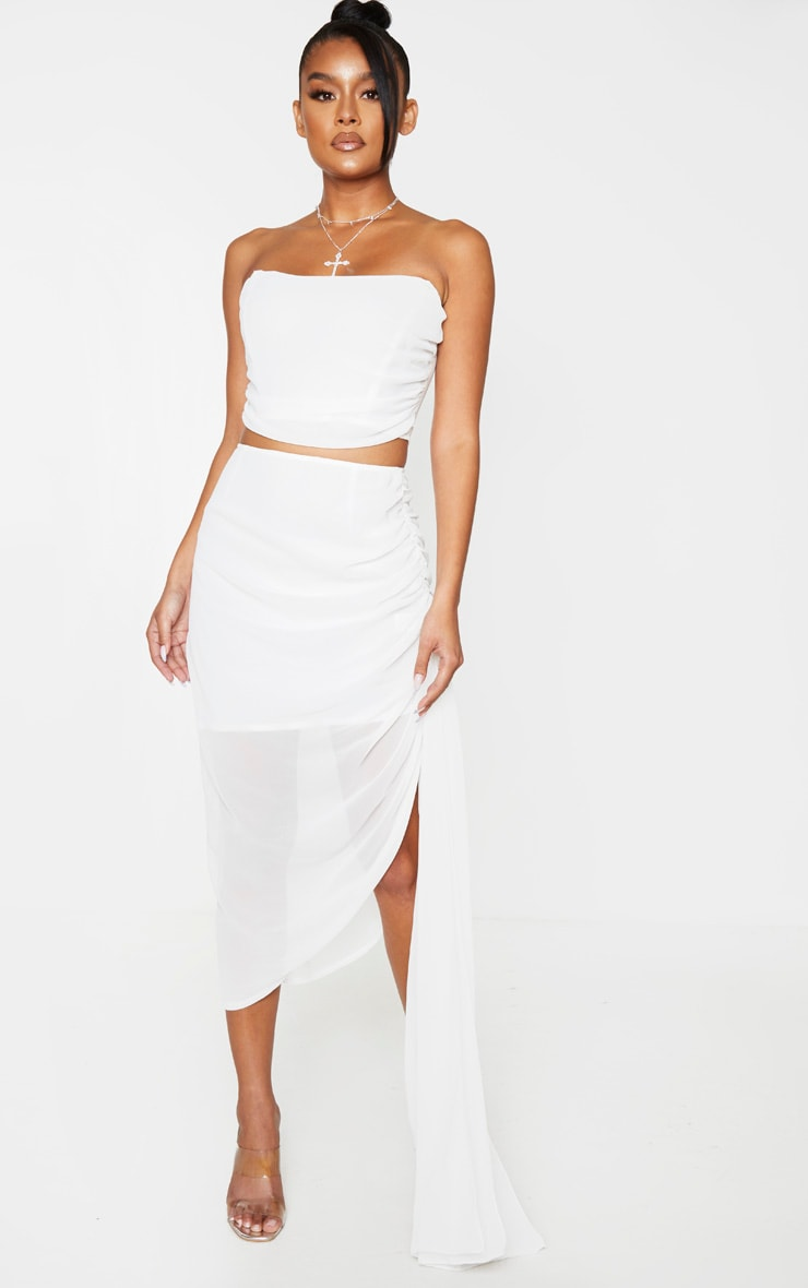 White Woven Ruched Side Panel Midi Skirt 1