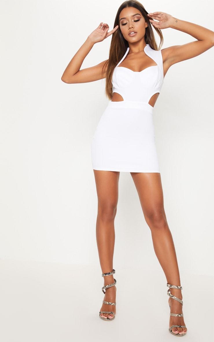 White Collar Detail Cut Detail Bodycon Dress Pretty Little Thing vPOPxMX