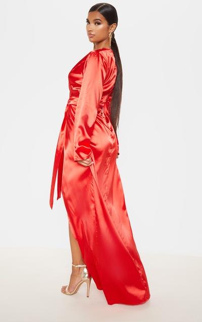 Red Satin Kimono Maxi Dress