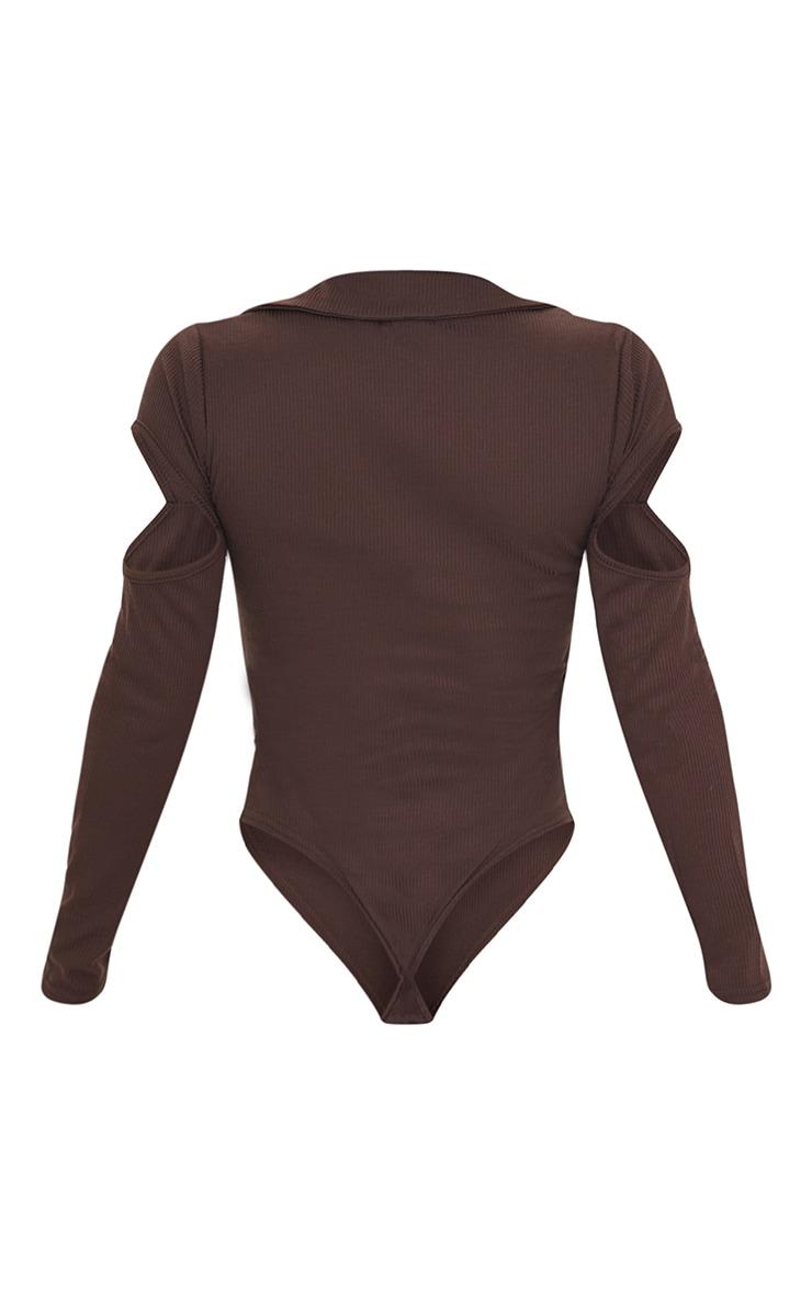 Chocolate Rib Cut Out Shoulder Collar Long Sleeve Bodysuit 6