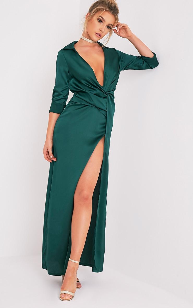 Alyssia Emerald Green Twist Front Maxi Shirt Dress 5