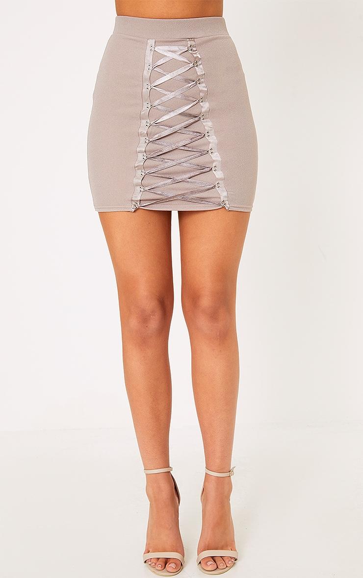 Catarina Grey Corset Panel Mini Skirt 2