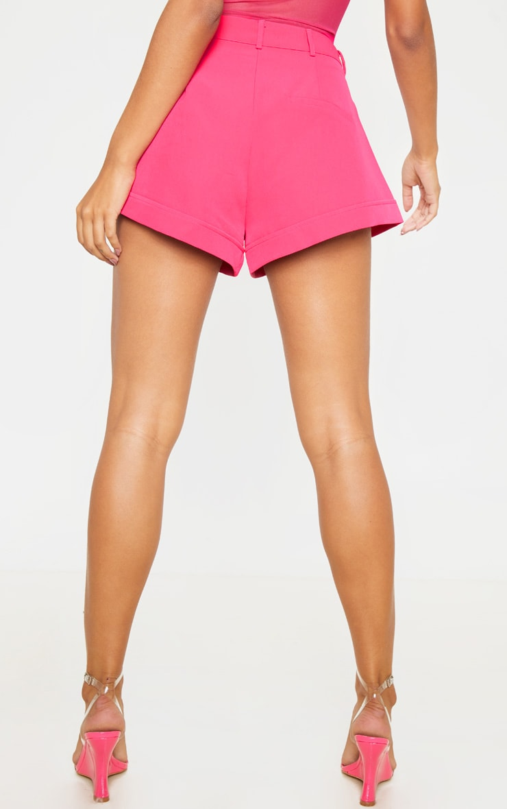 Hot Pink Woven Turn Up Hem Structured Short 5