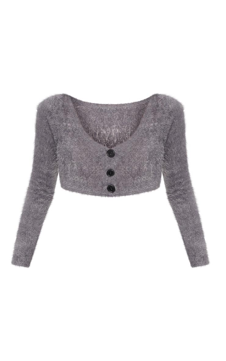 Charcoal Eyelash Fluffy Knit Cropped Cardigan 3