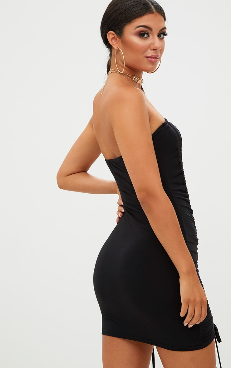 Black Bandeau Ruched Slinky Bodycon Dress 2