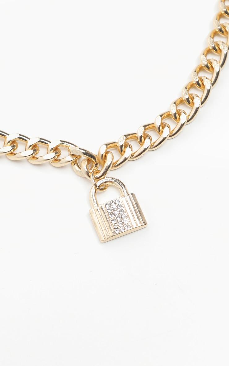 Gold Chunky Chain Diamante Padlock Bracelet 2