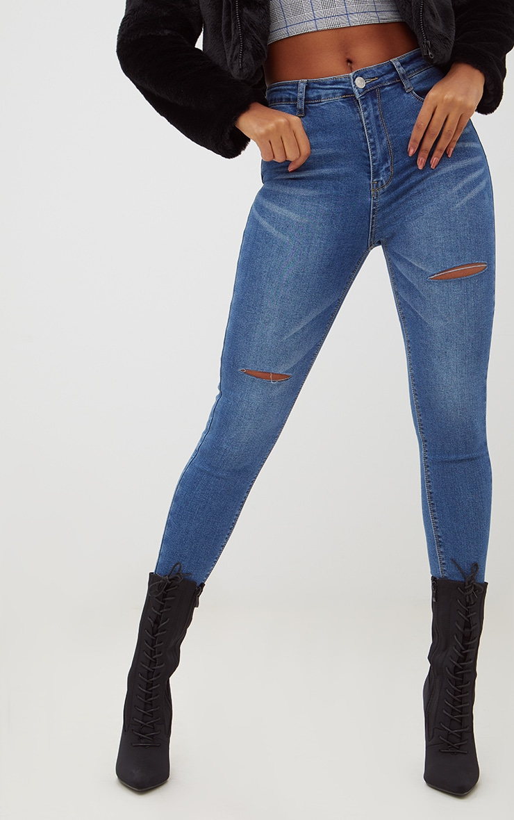 Mid Wash Thigh Split Skinny Jeans  2