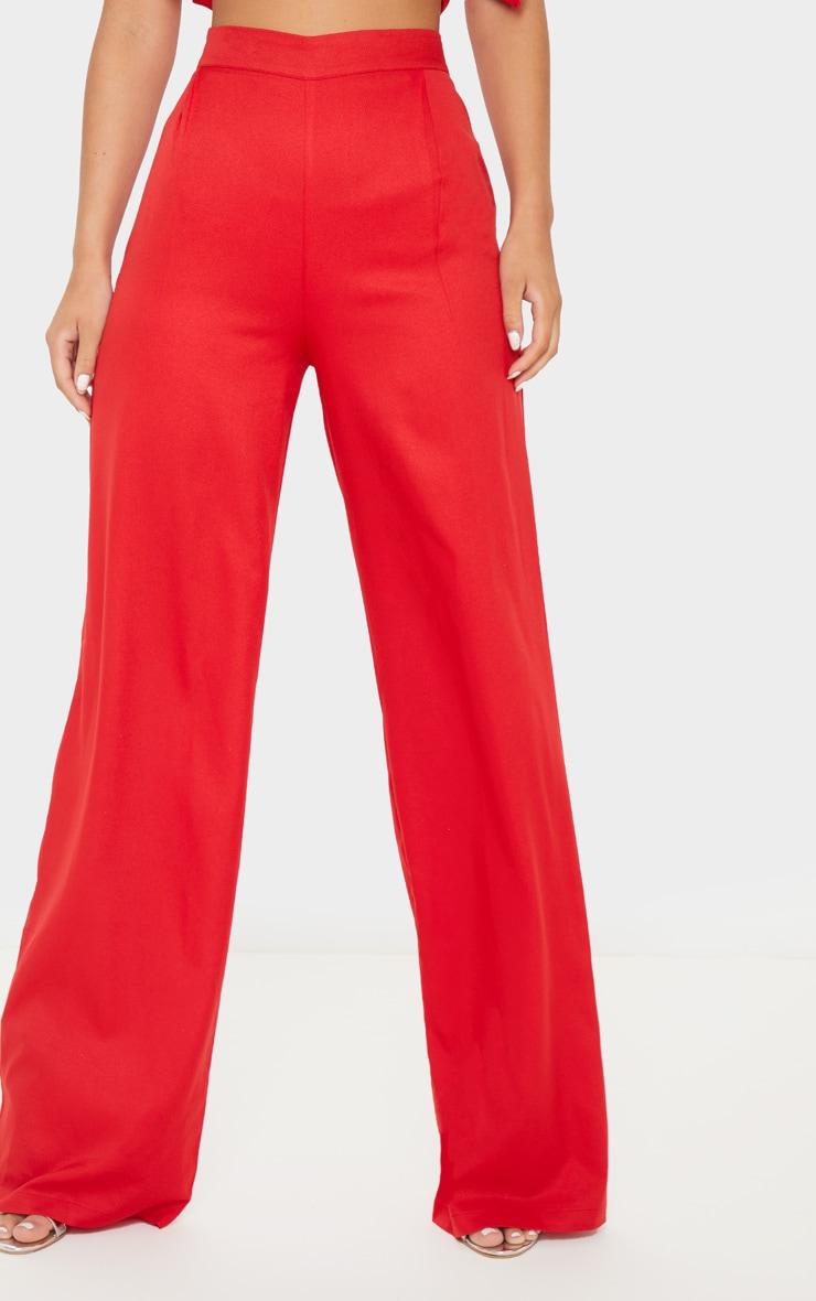 Red Wide Leg Woven Trouser 5