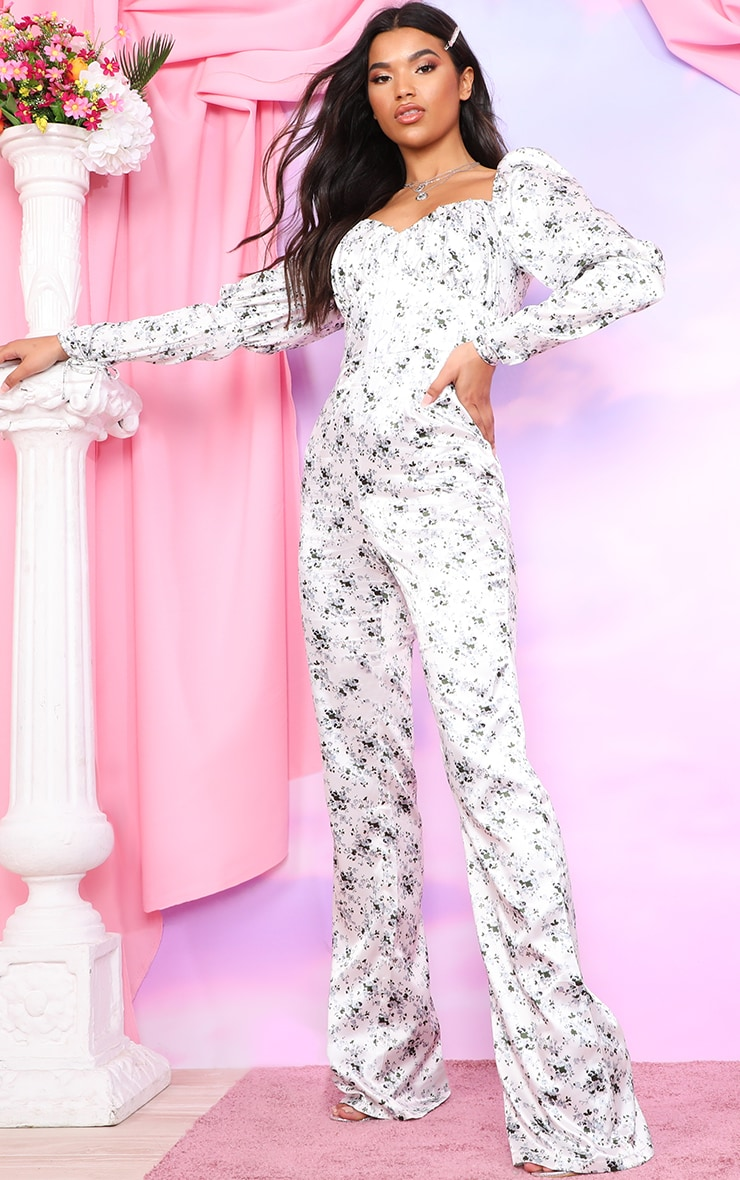 White Ditsy Floral Puff Sleeve Lace Up Waist Jumpsuit 4