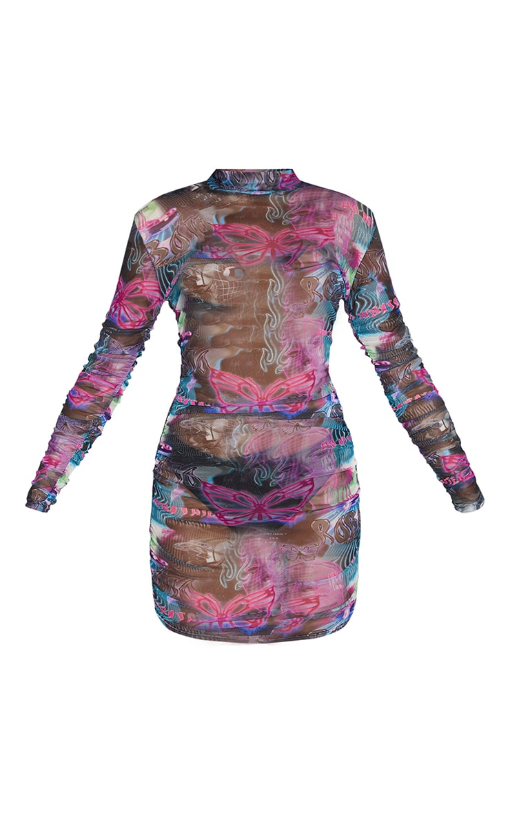 Multi Robot Print Mesh High Neck Long Sleeve Ruched Bodycon Dress 5