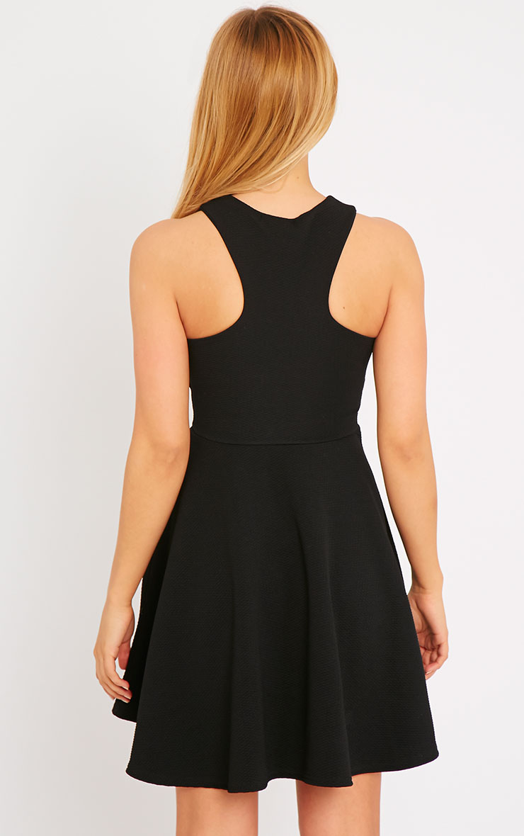Stacy Black Textured Racer Neck Skater Dress 2