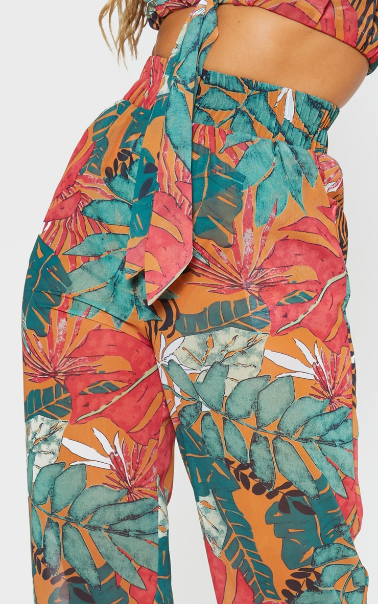 Orange Big Leaf Wide Leg Beach Pants 5