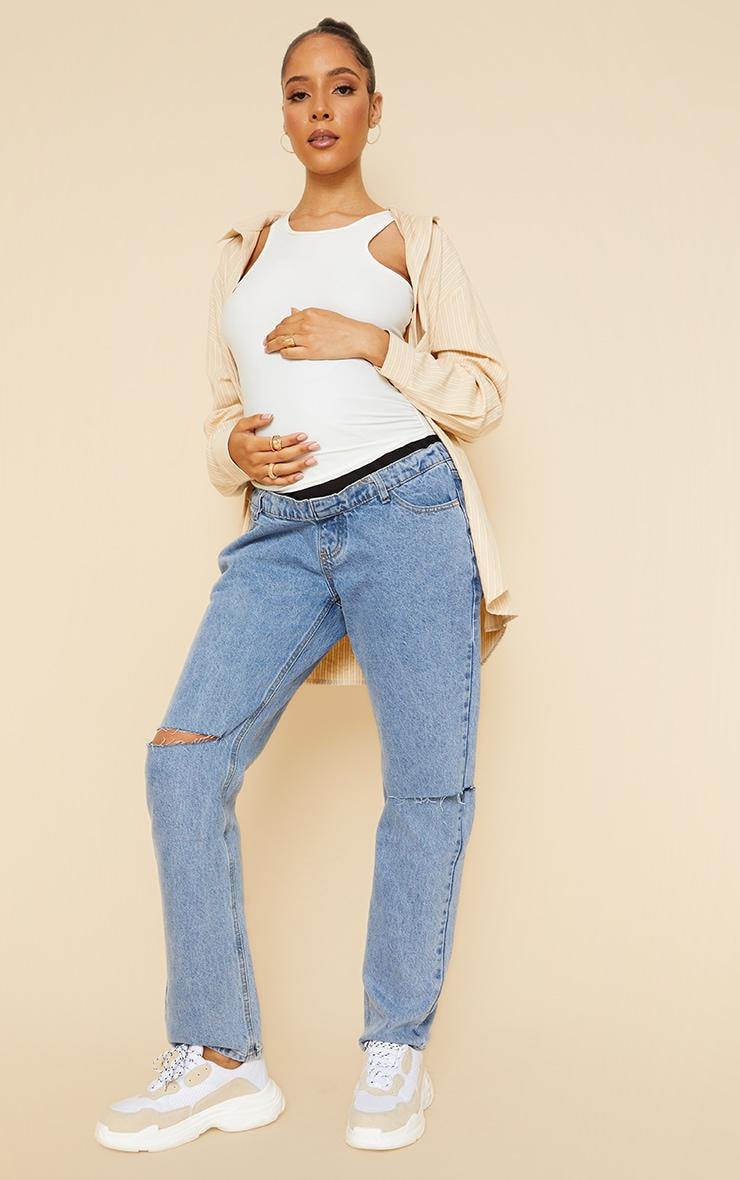 Maternity Mid Wash Knee Rip Straight Leg Jeans 1