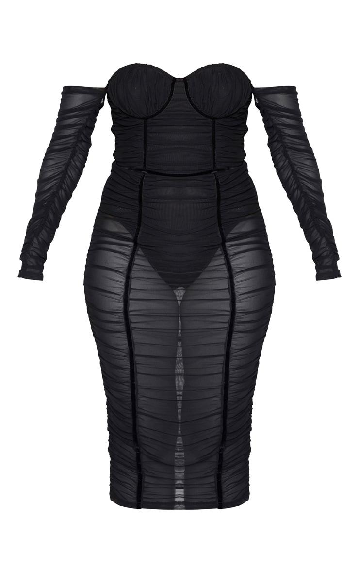 Black Mesh Ruched Velvet Binded Bardot Midi Dress 3