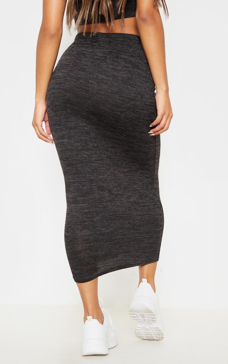 Black Lightweight Knit Maxi Skirt  4