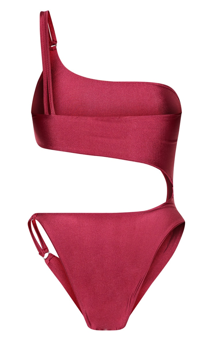 Shape Burgundy Cut Out Ring Detail One Shoulder Swimsuit  6