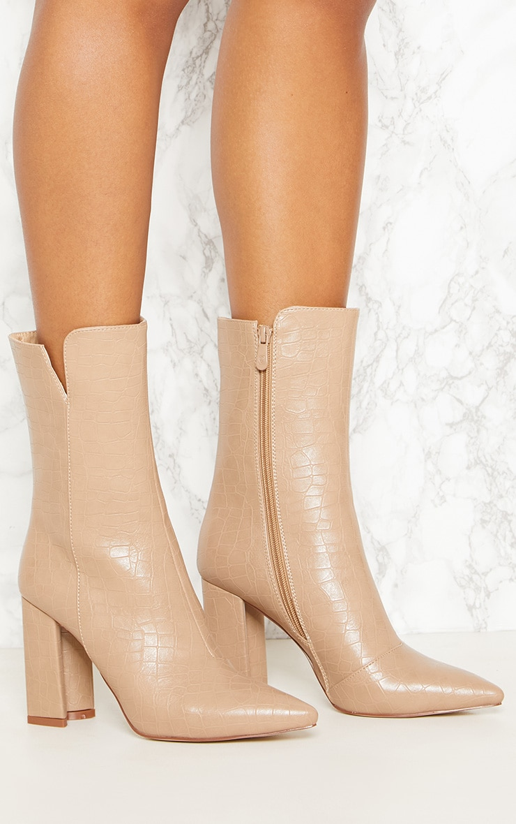 d6e1a20b7c7a Nude Faux Croc High Point Ankle Boot image 5