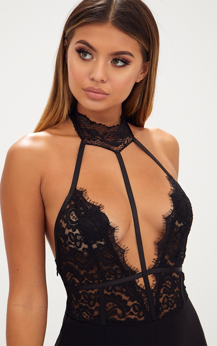 Black Lace Harness Jumpsuit 5