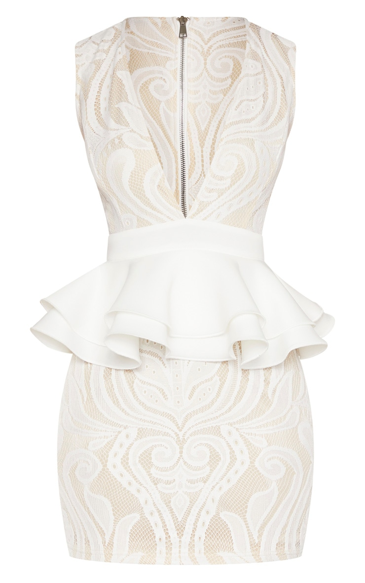 White Ruffle Detail Plunge Bodycon Dress 3