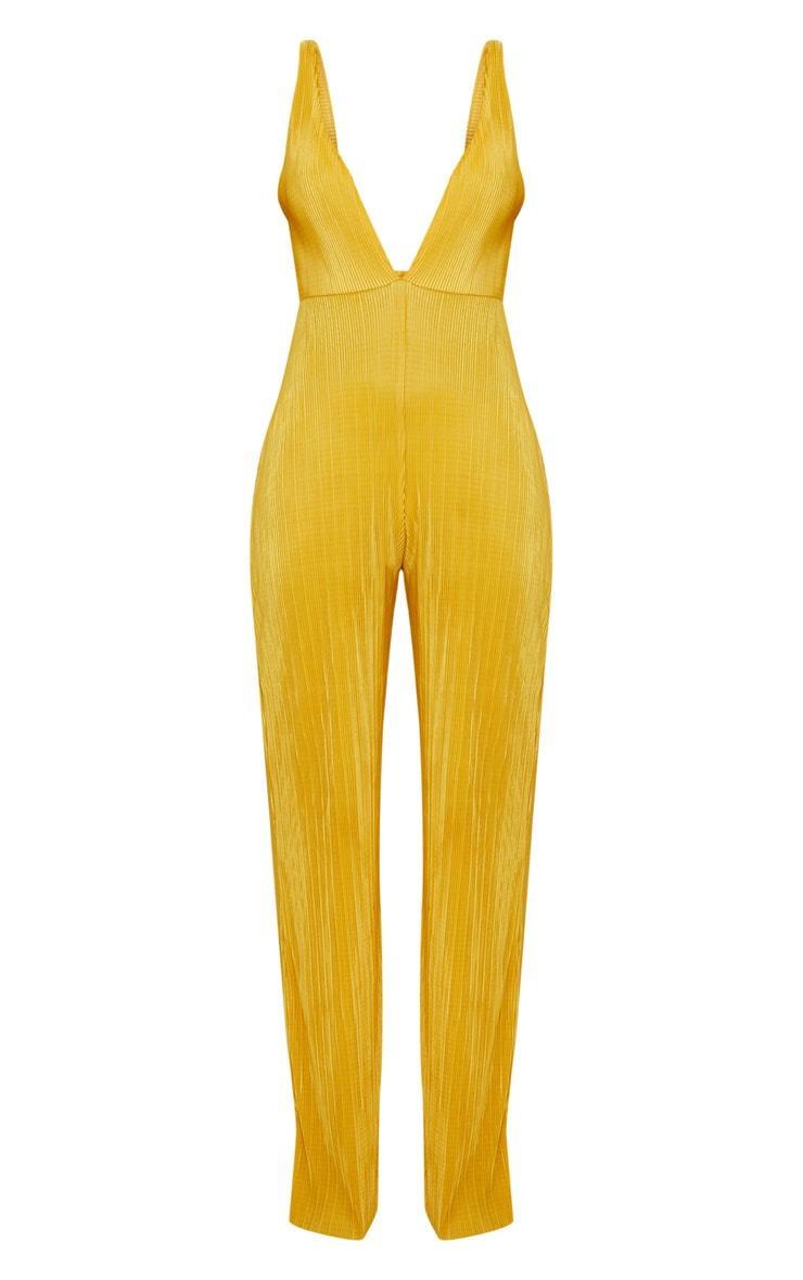 Golden Yellow Plisse Plunge Strappy Jumpsuit 3