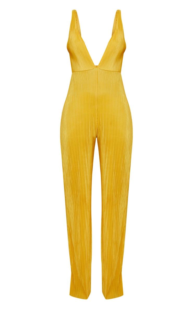 Combinaison jaune doré plissée à décolleté plongeant 3
