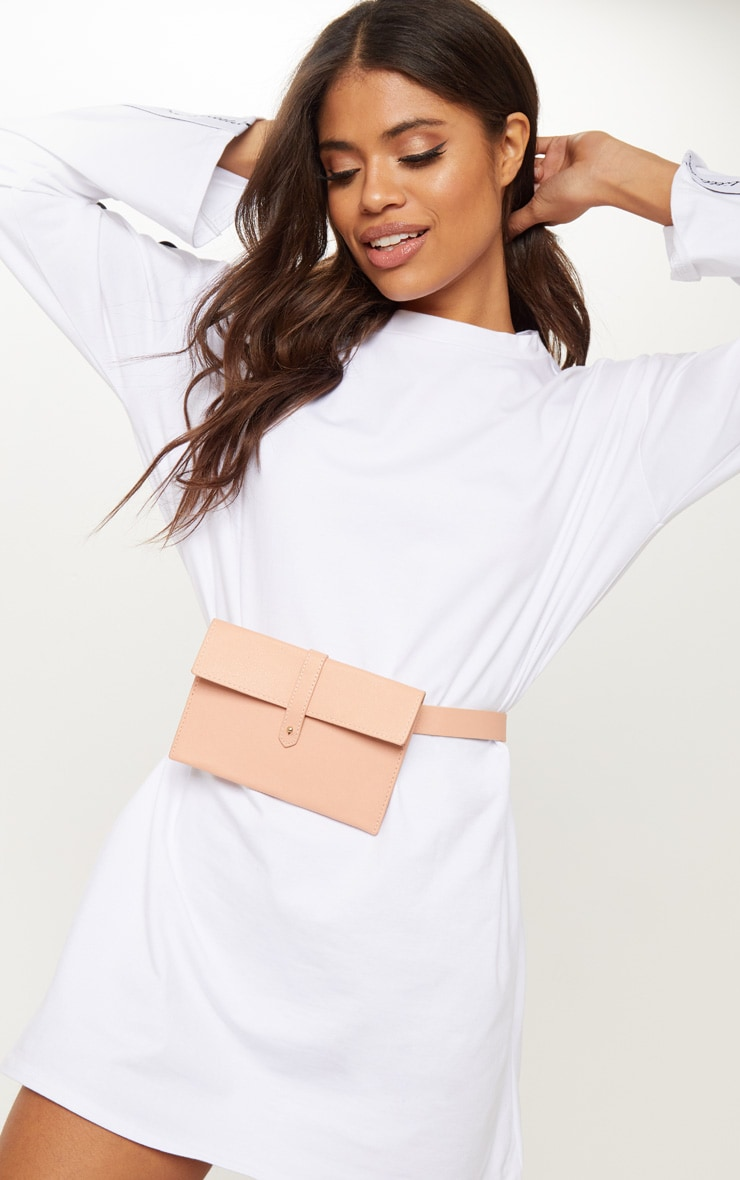 Pink Belted Envelope Pouch Bum Bag