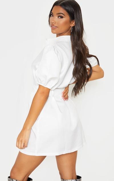 White Puff Sleeve Belted Shirt Dress