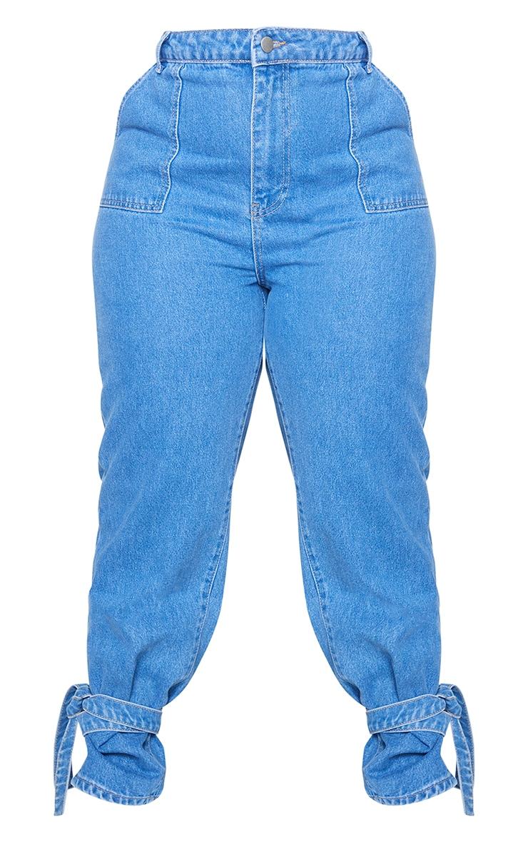 Plus Mid Blue Wash Tie Hem Jeans 5
