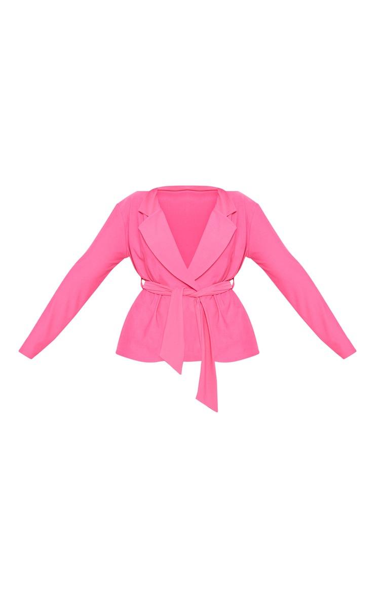 Plus Hot Pink Tie Waist Blazer 3