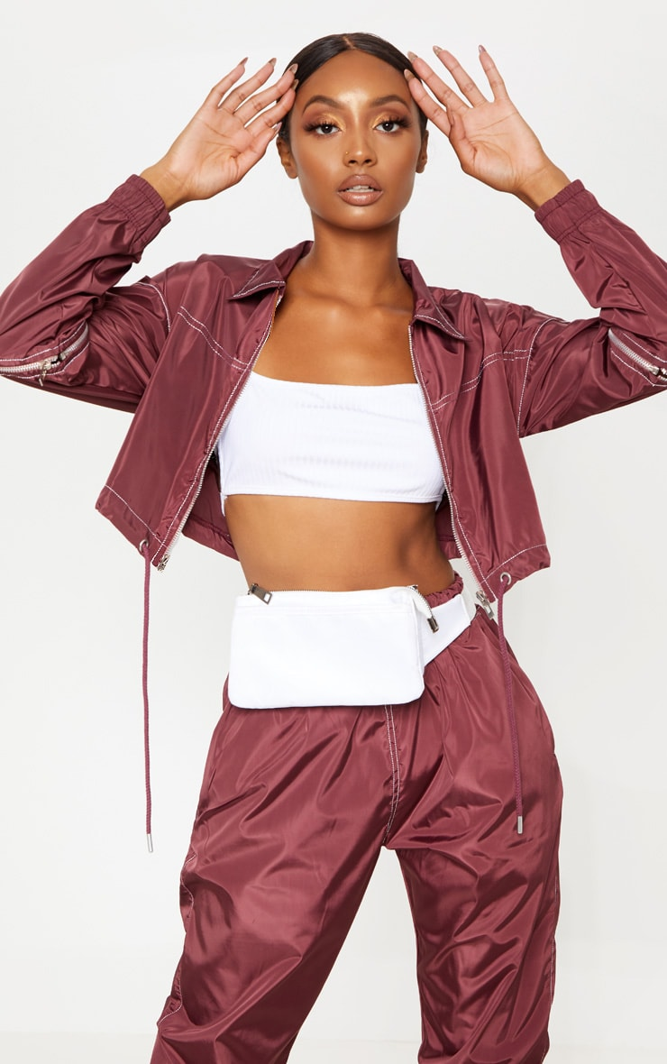 Burgundy Contrast Stitch Shell Zip Up Top