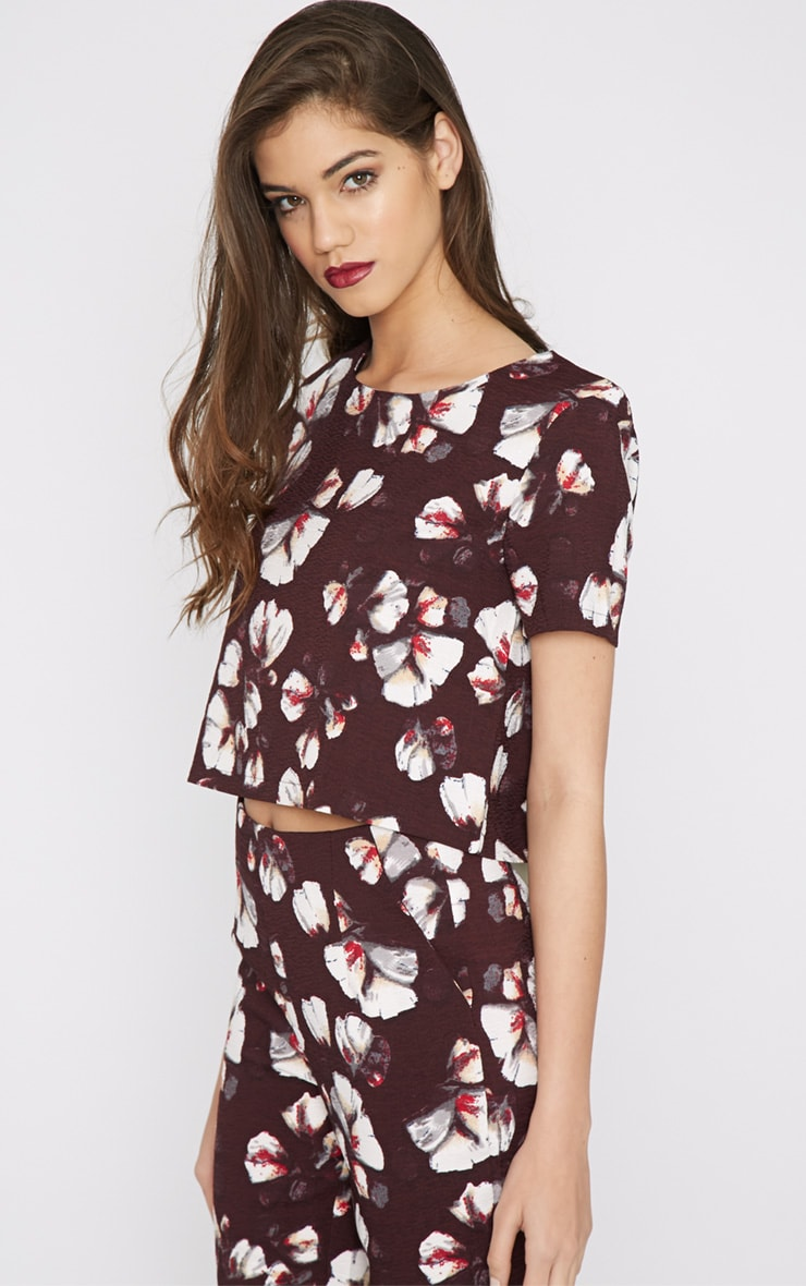 Michela Burgundy Floral Print Crop Top   2