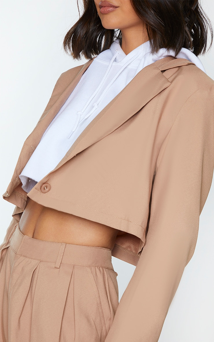 Sand Button Front Cropped Blazer 4