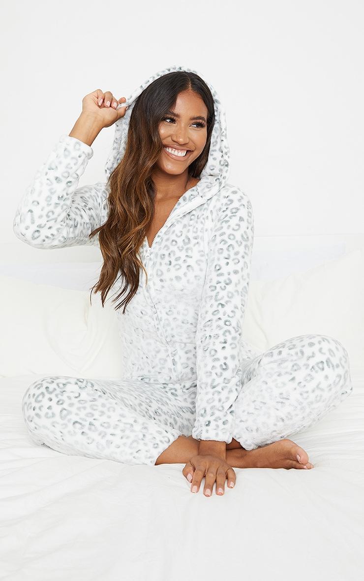 White Leopard Printed Fleece Hooded Onesie 1