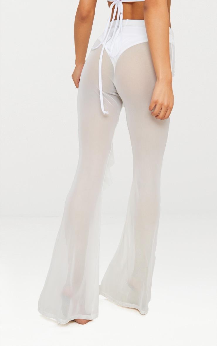 White Frill Front Mesh Beach Trouser 4