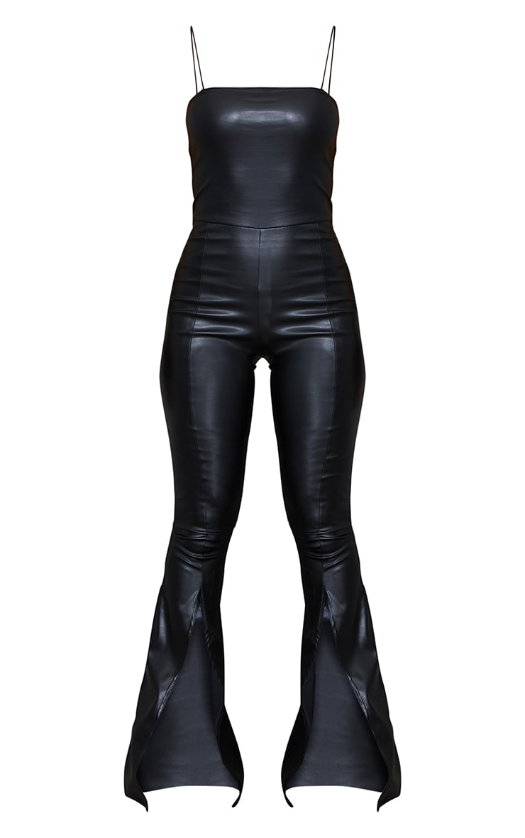 Black PU Strappy Split Hem Flare Jumpsuit 5