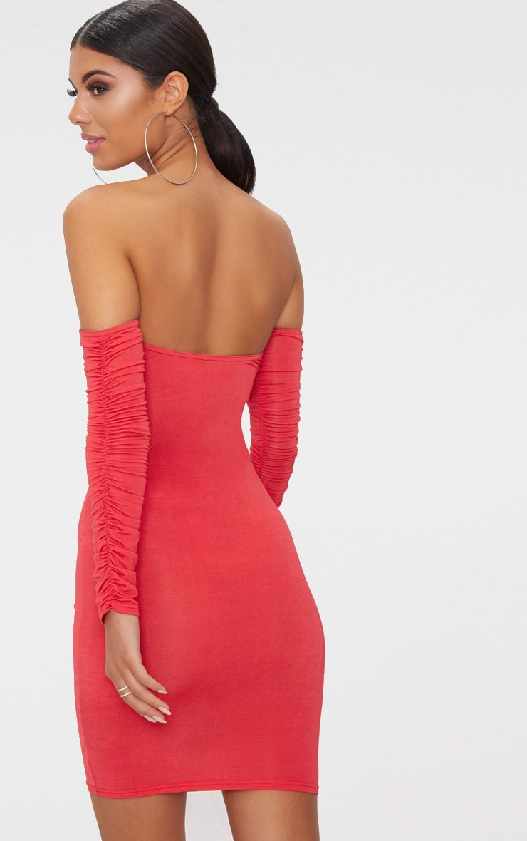 Red Ruched Front Ruched Arm Bardot Bodycon Dress 2