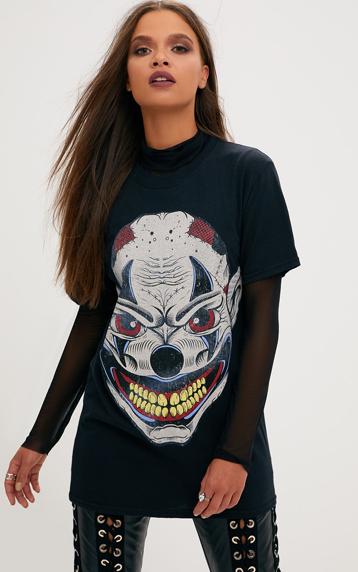 Black Ugly Clown Print T Shirt 1