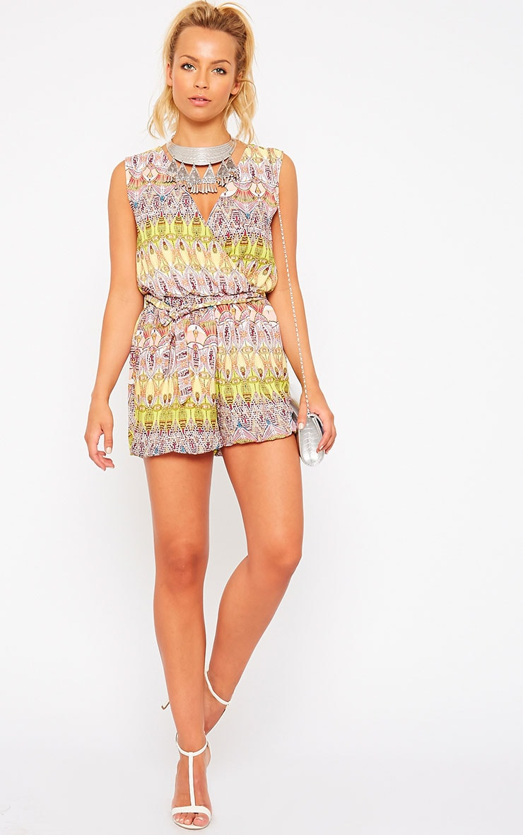 Kinsley Yellow Printed Chiffon Playsuit 3