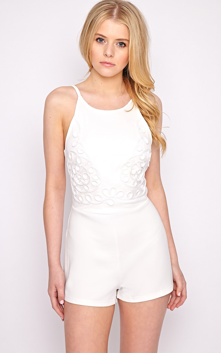 Lena White Embroidered Playsuit 1