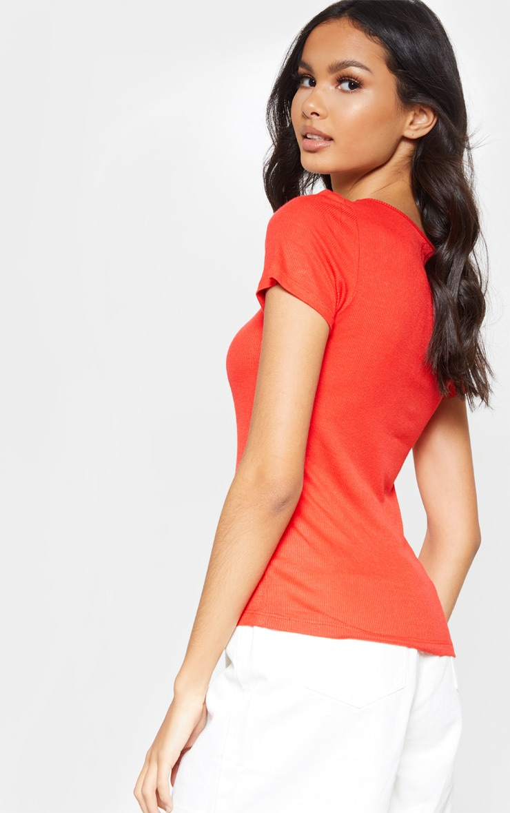 Red Scoop Neck Button Front Short Sleeve Top 2