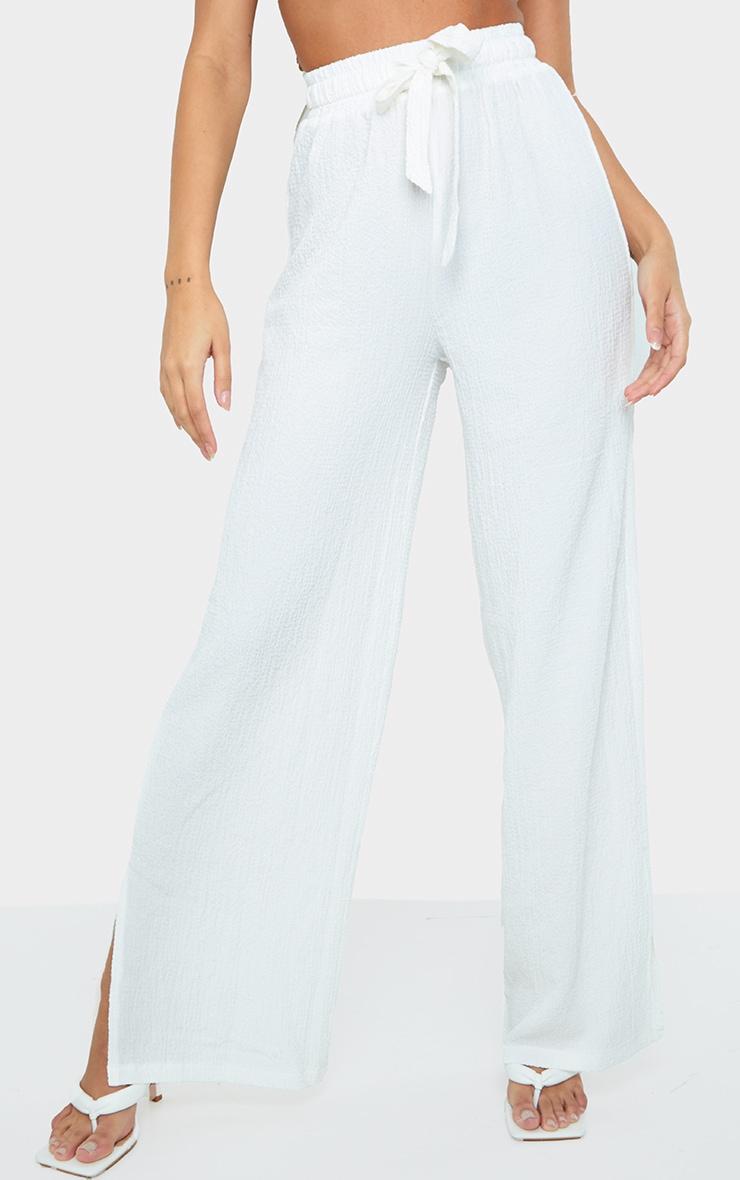 White Textured Drawstring Waist Wide Leg Trouser 2