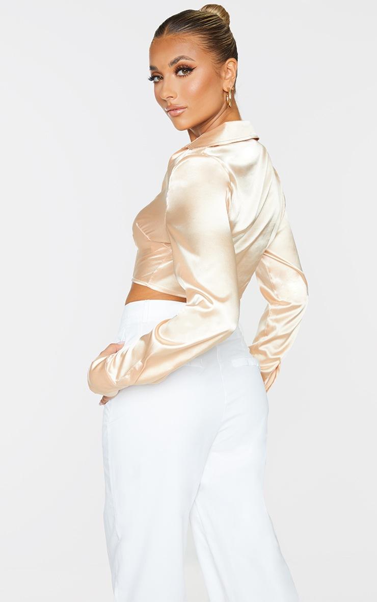 Champagne Satin Boned Long Sleeve Shirt 2