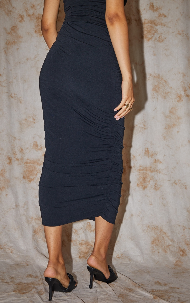 Recycled Maternity Black Contour Jersey Ruched Midaxi Skirt 3