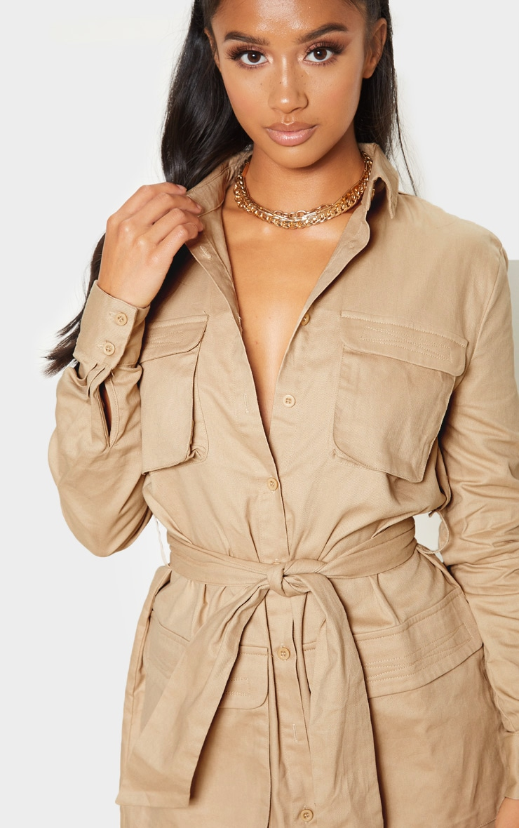 Petite Fawn Utility Tie Waist Shirt Dress 5