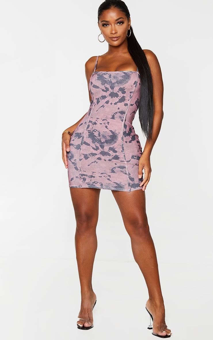 Shape Mauve Tie Dye Rib Corset Detail Strappy Bodycon Dress 3